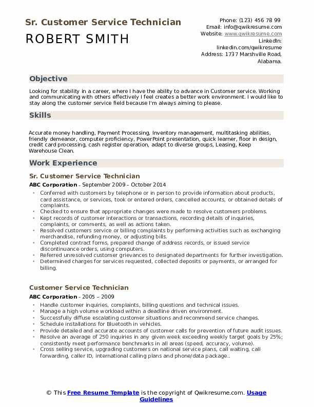 Sr. Customer Service Technician Resume Format