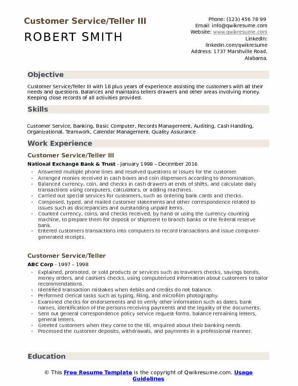 Customer Service/Teller III Resume Example