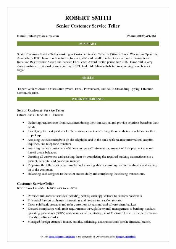 Senior Customer Service Teller Resume Model