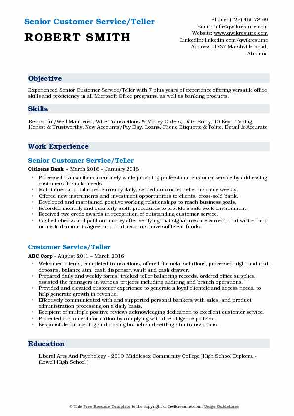 Senior Customer Service/Teller Resume Format