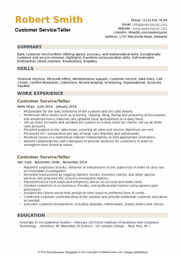 Customer Service Teller Resume example