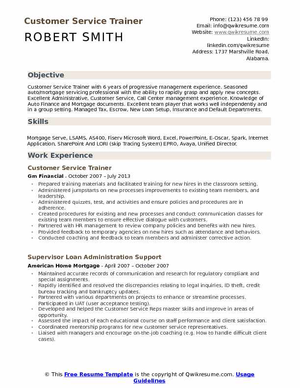 Customer Service Trainer Resume Example