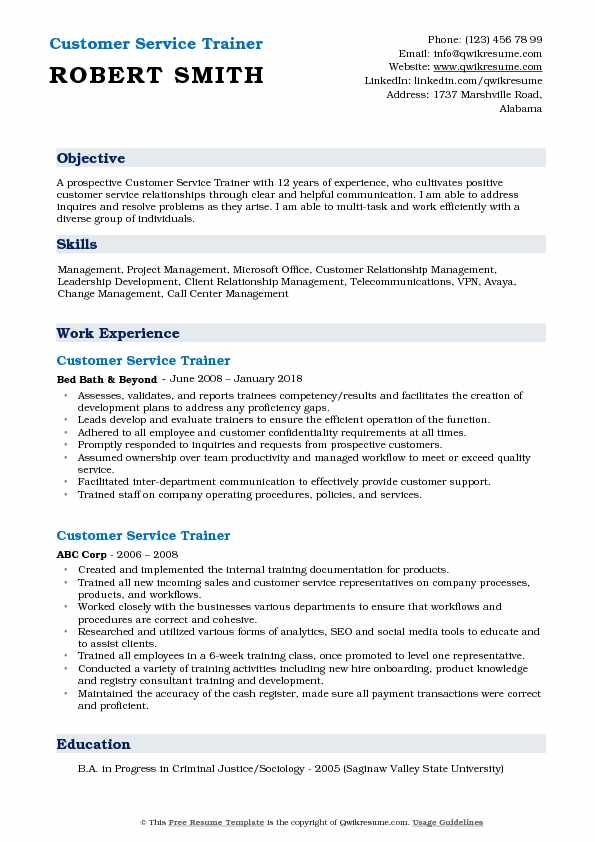Customer Service Trainer Resume Model