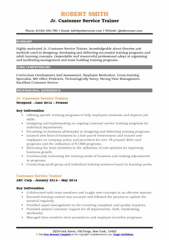 Jr. Customer Service Trainer Resume Template