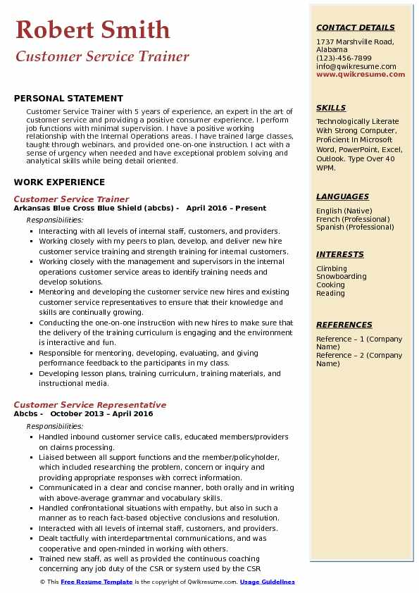 Customer Service Trainer Resume Sample