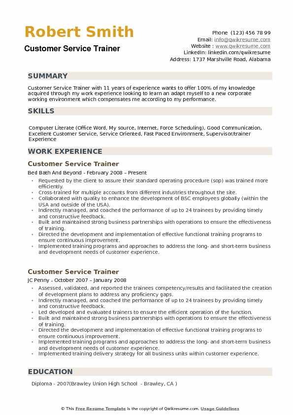 Customer Service Trainer Resume Samples Qwikresume