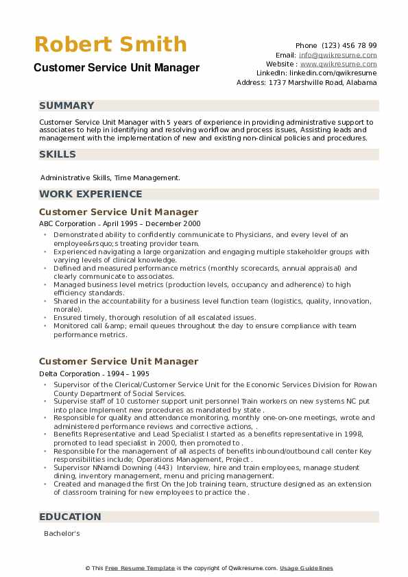 Customer Service Unit Manager Resume example