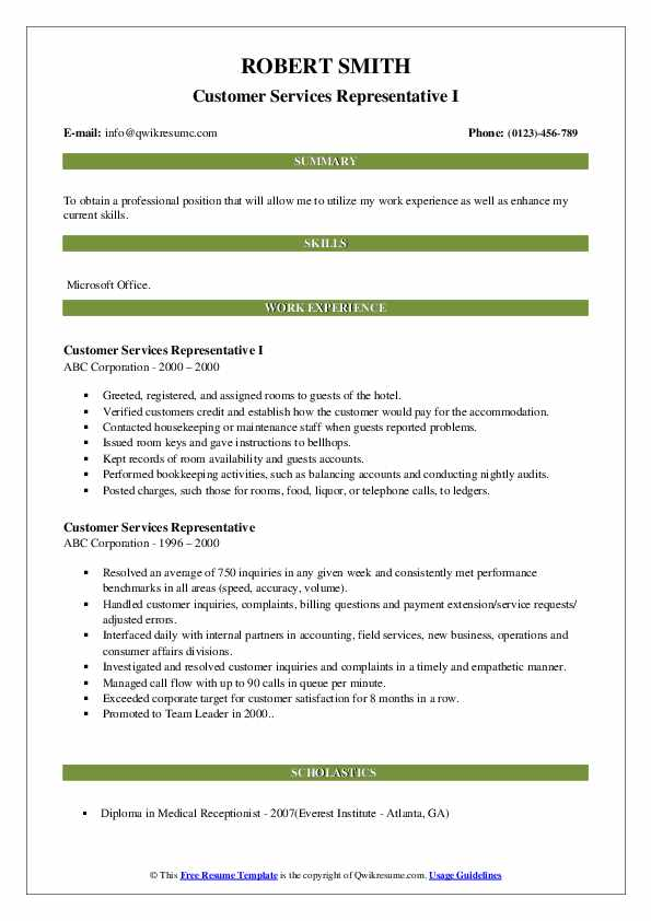 customer services representative resume samples