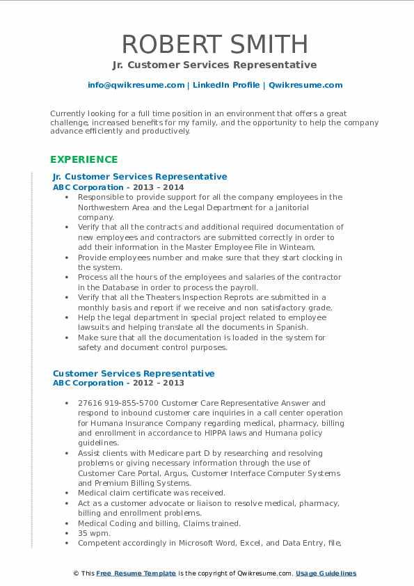 Jr. Customer Services Representative Resume Example