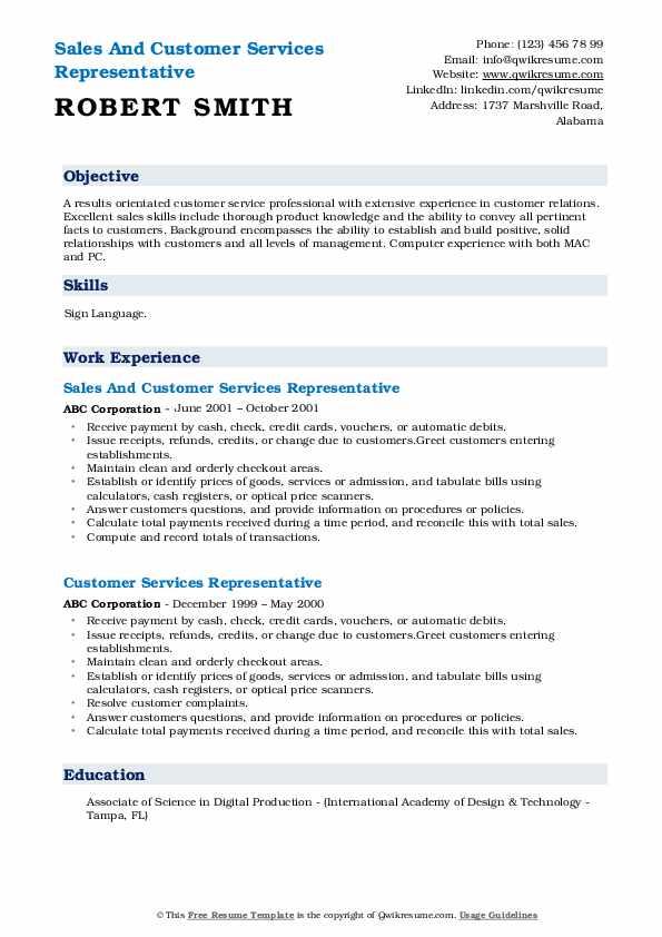 Sales And Customer Services Representative Resume Model