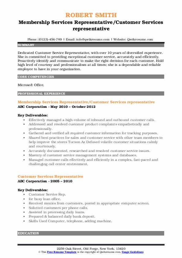 Membership Services Representative/Customer Services representative Resume Template
