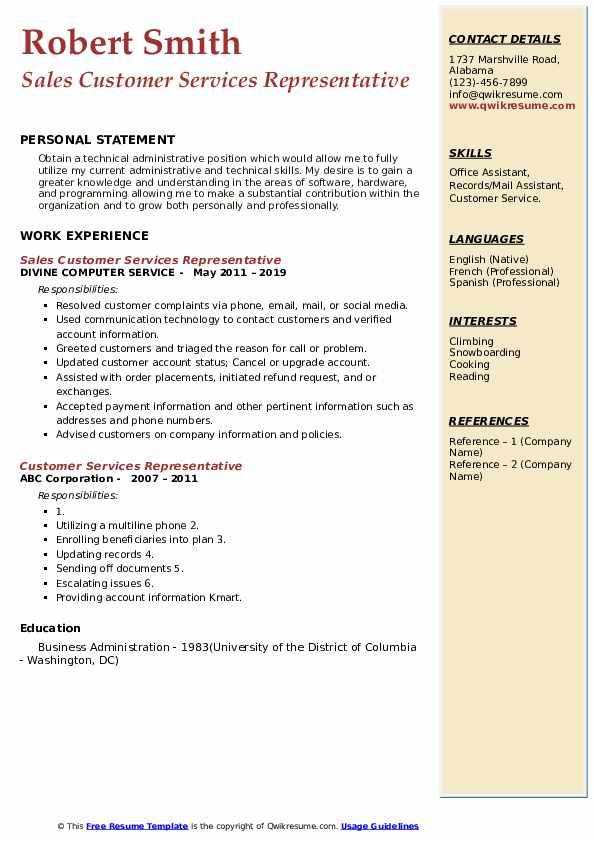 Sales Customer Services Representative Resume Sample