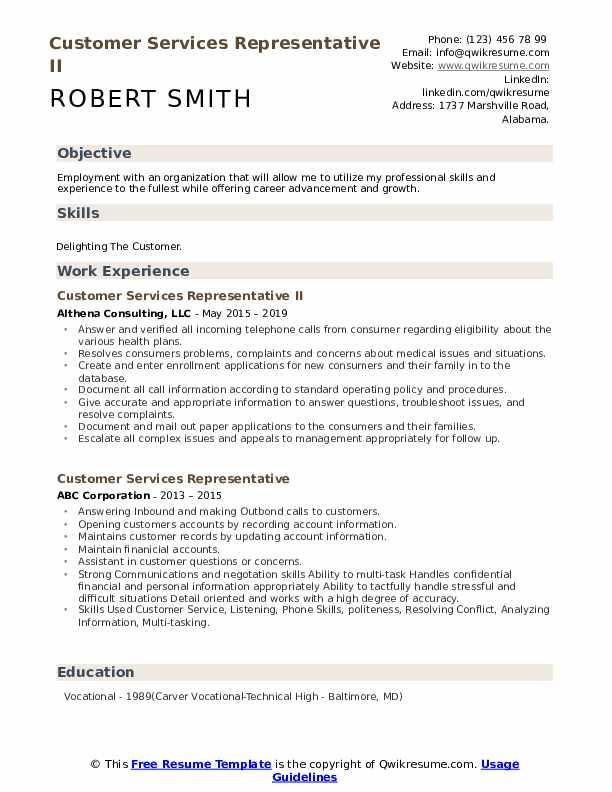 Customer Services Representative II Resume Template