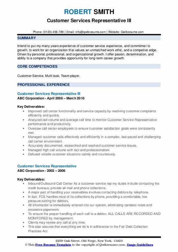 Customer Services Representative III Resume Format