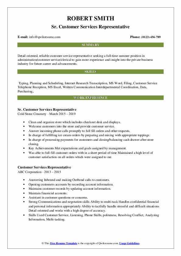 Sr. Customer Services Representative Resume Model