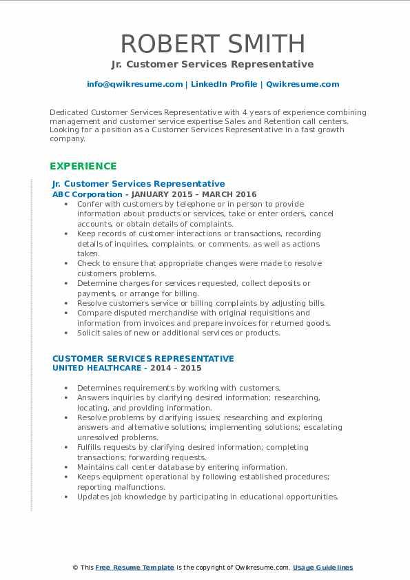 Jr. Customer Services Representative Resume Sample