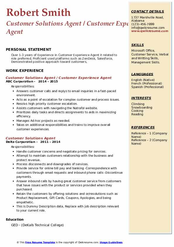 Customer Solutions Agent Resume example