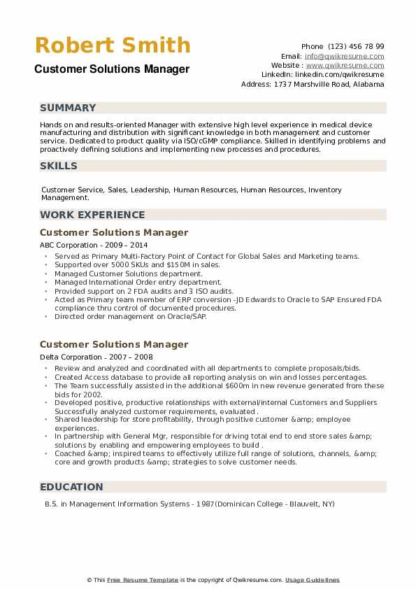 Customer Solutions Manager Resume example