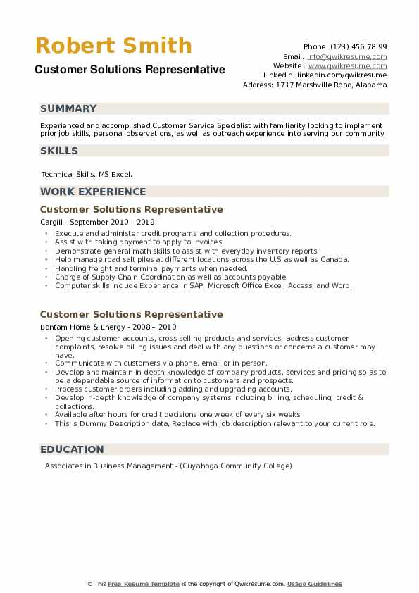 Customer Solutions Representative Resume example