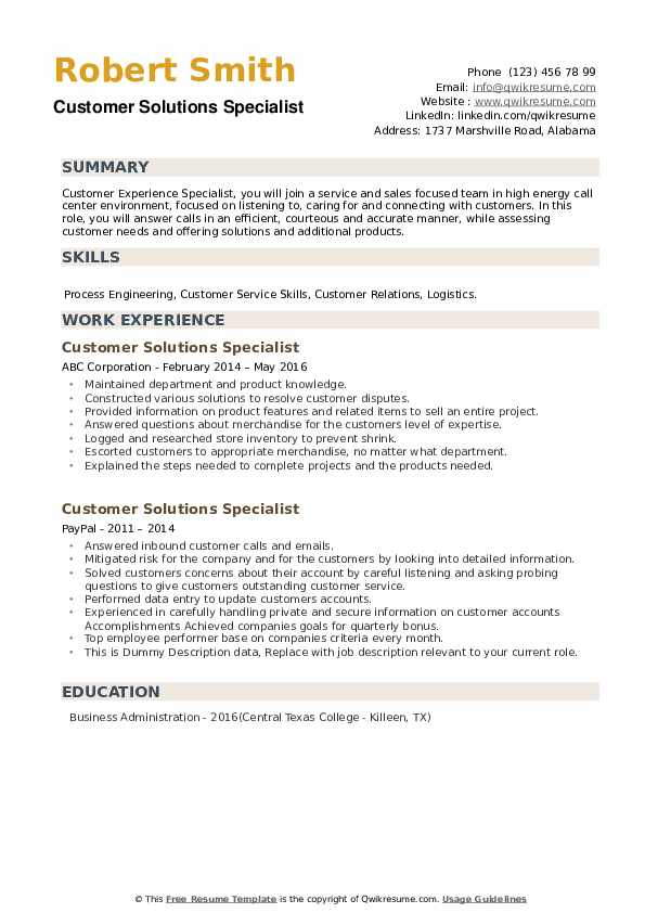 Customer Solutions Specialist Resume example