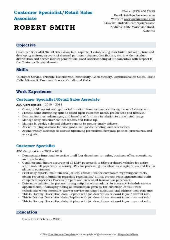customer specialist resume samples  qwikresume