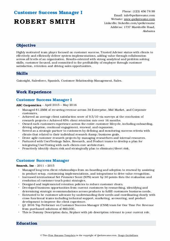 customer success manager resume samples