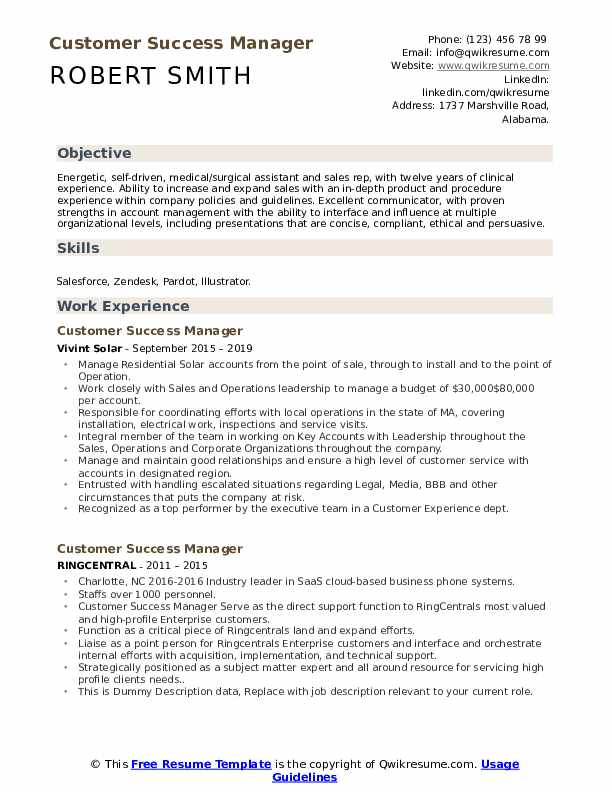 Customer Success Manager Resume example