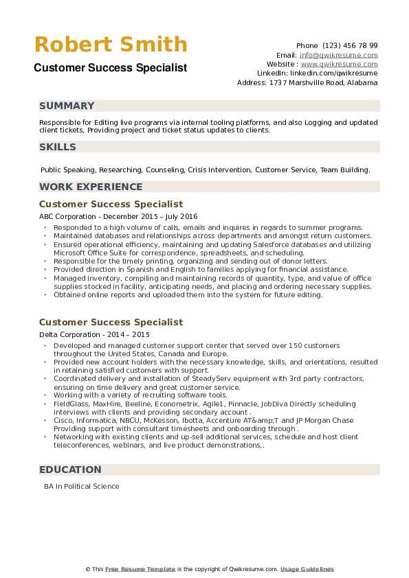 Customer Success Specialist Resume example