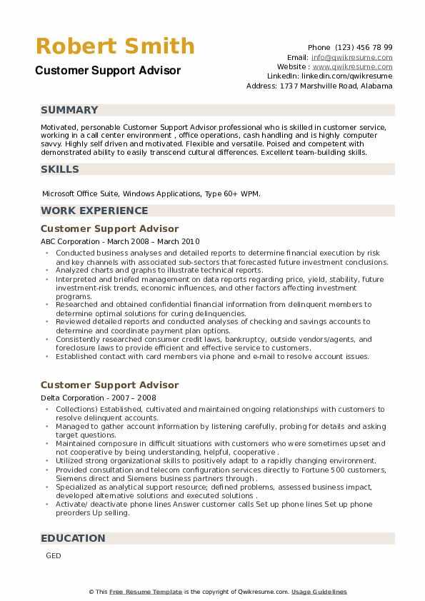 Customer Support Advisor Resume example