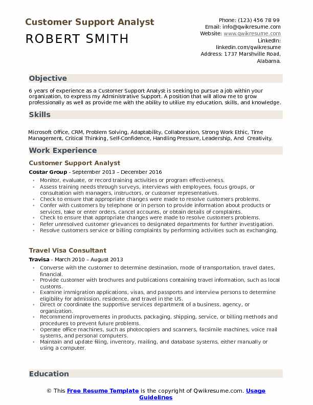 Customer Support Analyst Resume Template