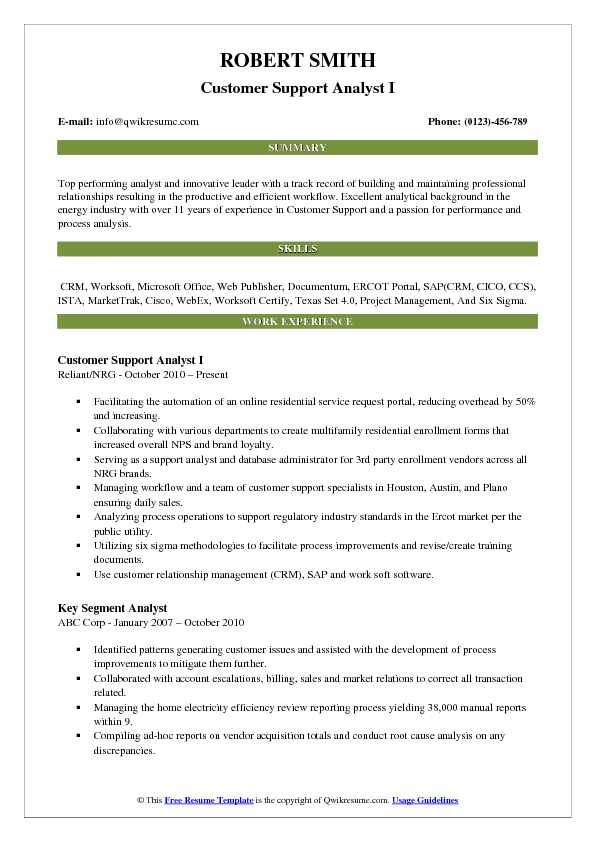 Customer Support Analyst I Resume Template