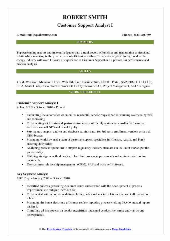 Customer Support Analyst I Resume Format