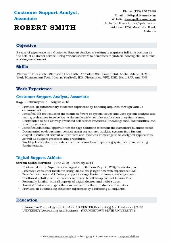 Customer Support Analyst, Associate Resume Format