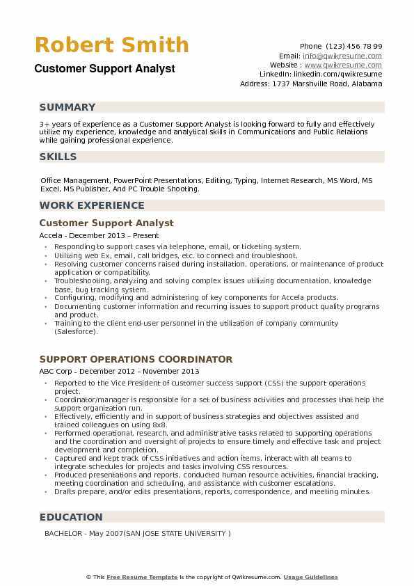Customer Support Analyst Resume example