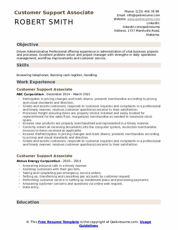 Customer Support Associate Resume Template