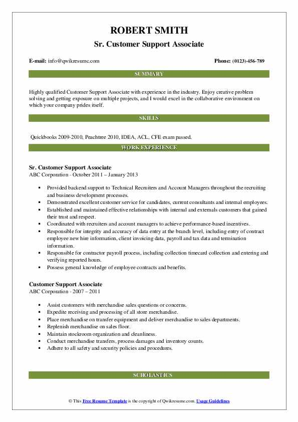 Sr. Customer Support Associate Resume Sample