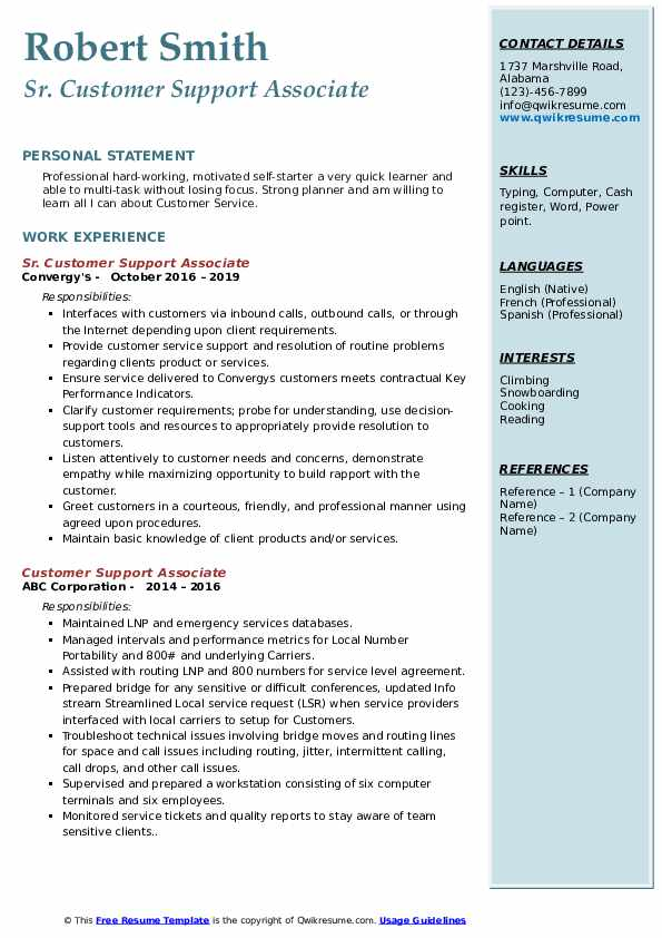 Sr. Customer Support Associate Resume Format