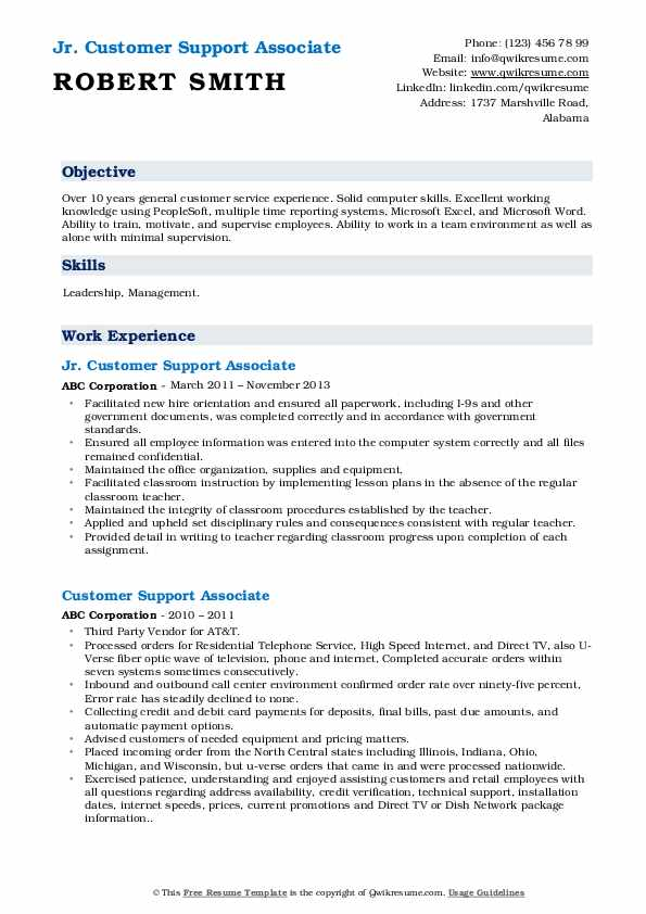Jr. Customer Support Associate Resume Model