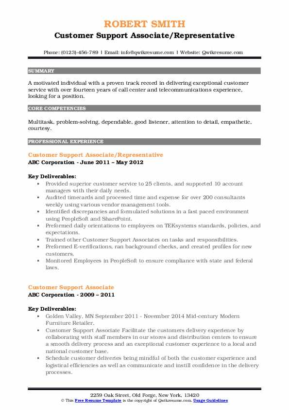Customer Support Associate/Representative Resume Format