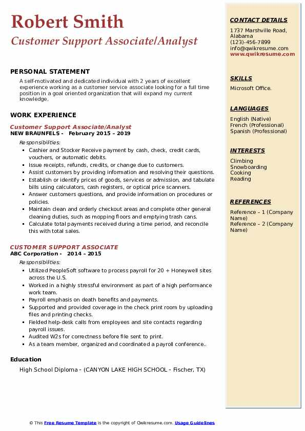 Customer Support Associate/Analyst Resume Template