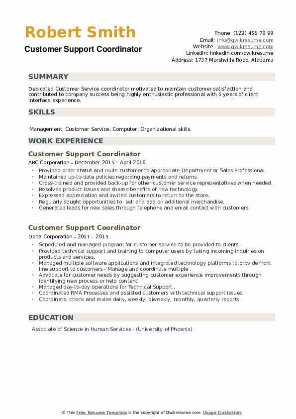 Customer Support Coordinator Resume example