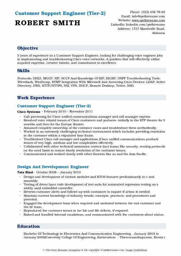 Customer Support Engineer (Tier-2) Resume Model