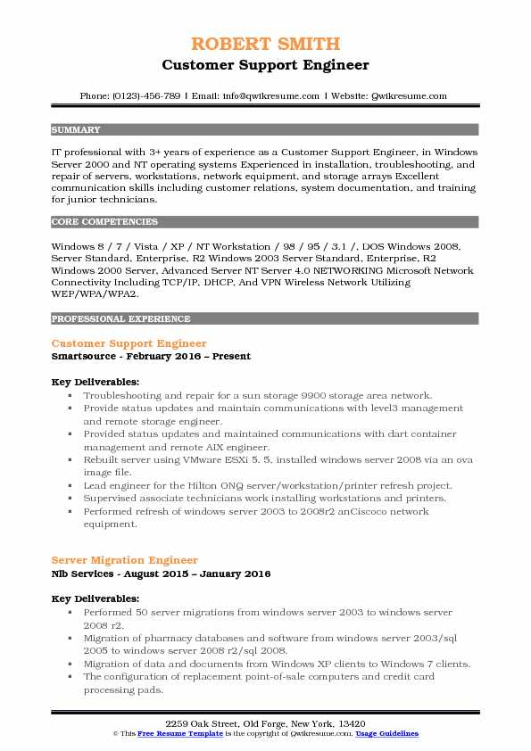 Customer Support Engineer Resume Sample