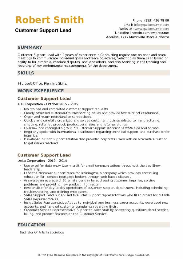 Customer Support Lead Resume example