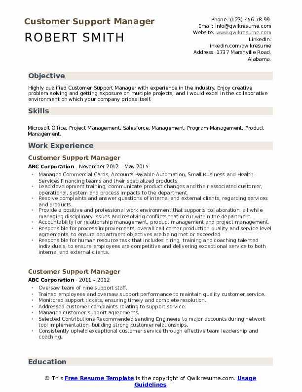 Customer Support Manager Resume Model