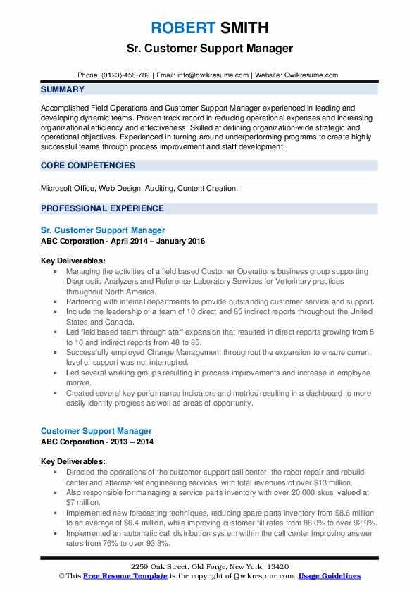 Sr. Customer Support Manager Resume Format