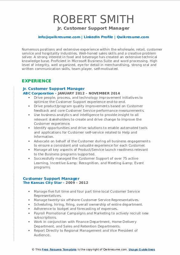 Jr. Customer Support Manager Resume Model