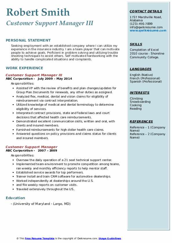 Customer Support Manager III Resume Example