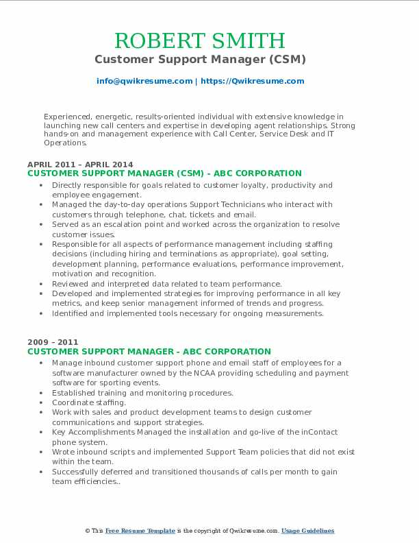 Customer Support Manager (CSM) Resume Model