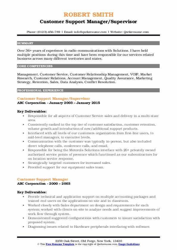 Customer Support Manager/Supervisor Resume Sample